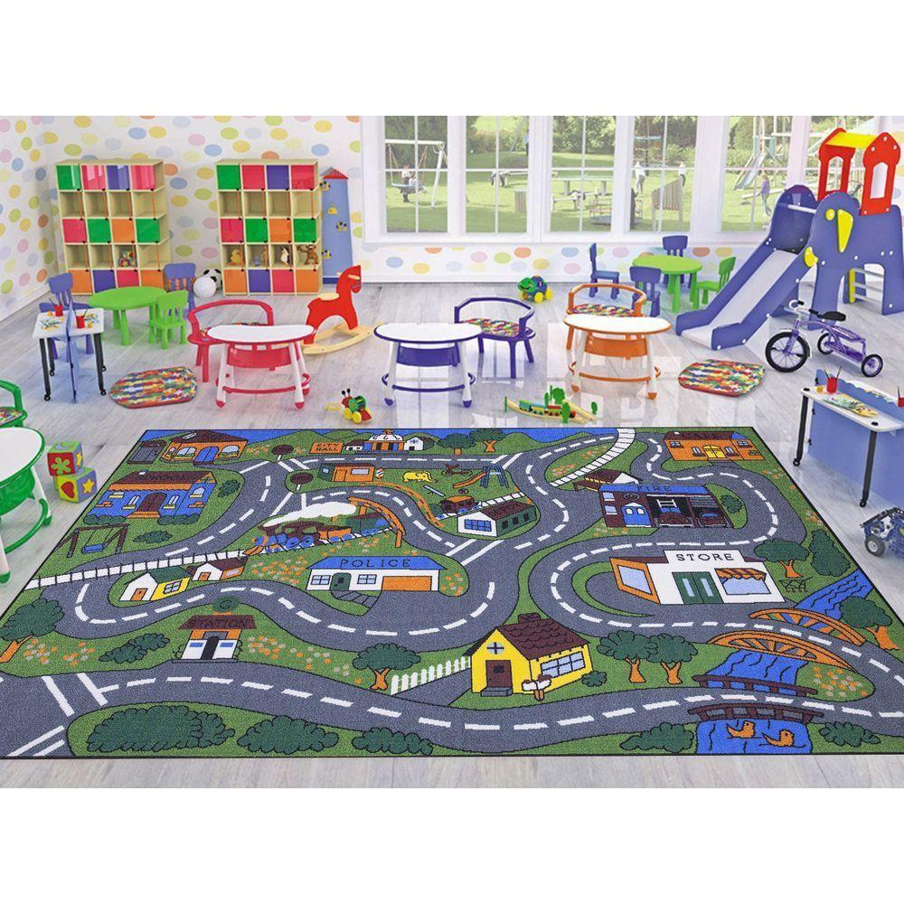Ottomanson Jenny Collection Grey Road Traffic Design 5 Ft X 7 Ft