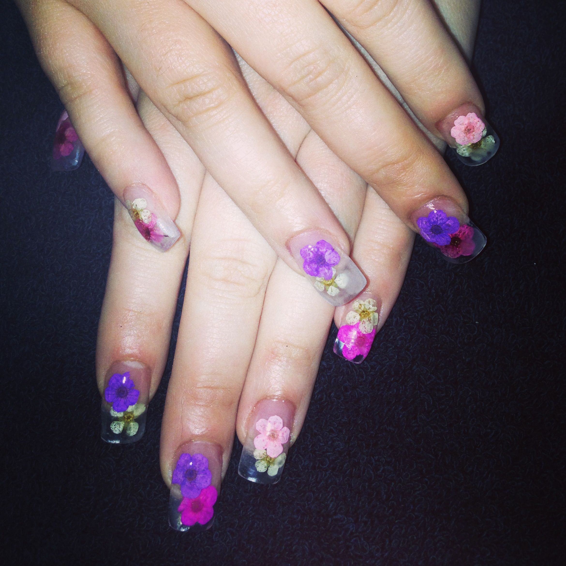 Real Flowers Pink Purple Encapsulated Clear Sculptured Acrylic Nail Extensions X Sculptured Acrylic Nails Bling Nails Nail Candy