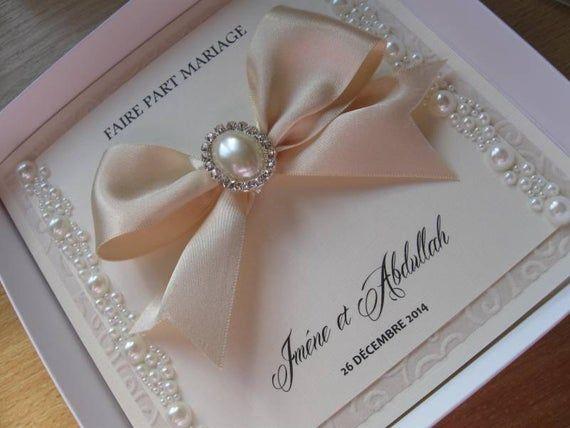 Perle de luxe mariage Invitation perle Satin embelli – avec ou sans boite