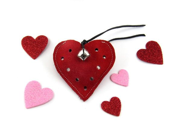 Refillable Catnip Toy Jingle Bell Cat Toy Red Heart by PrimalKitty