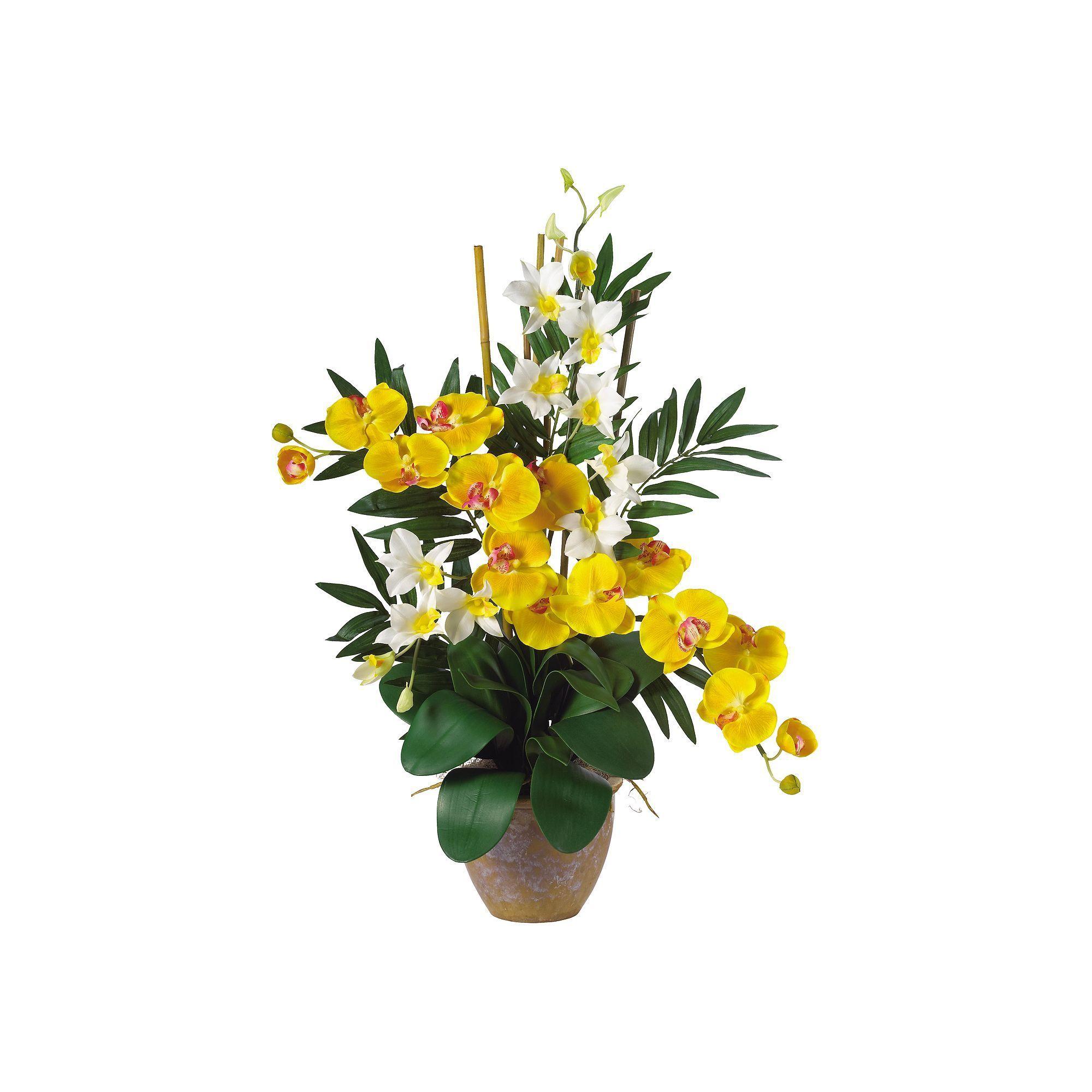 Nearly Natural Silk Phalaenopsis Dendrobium Orchid Arrangement