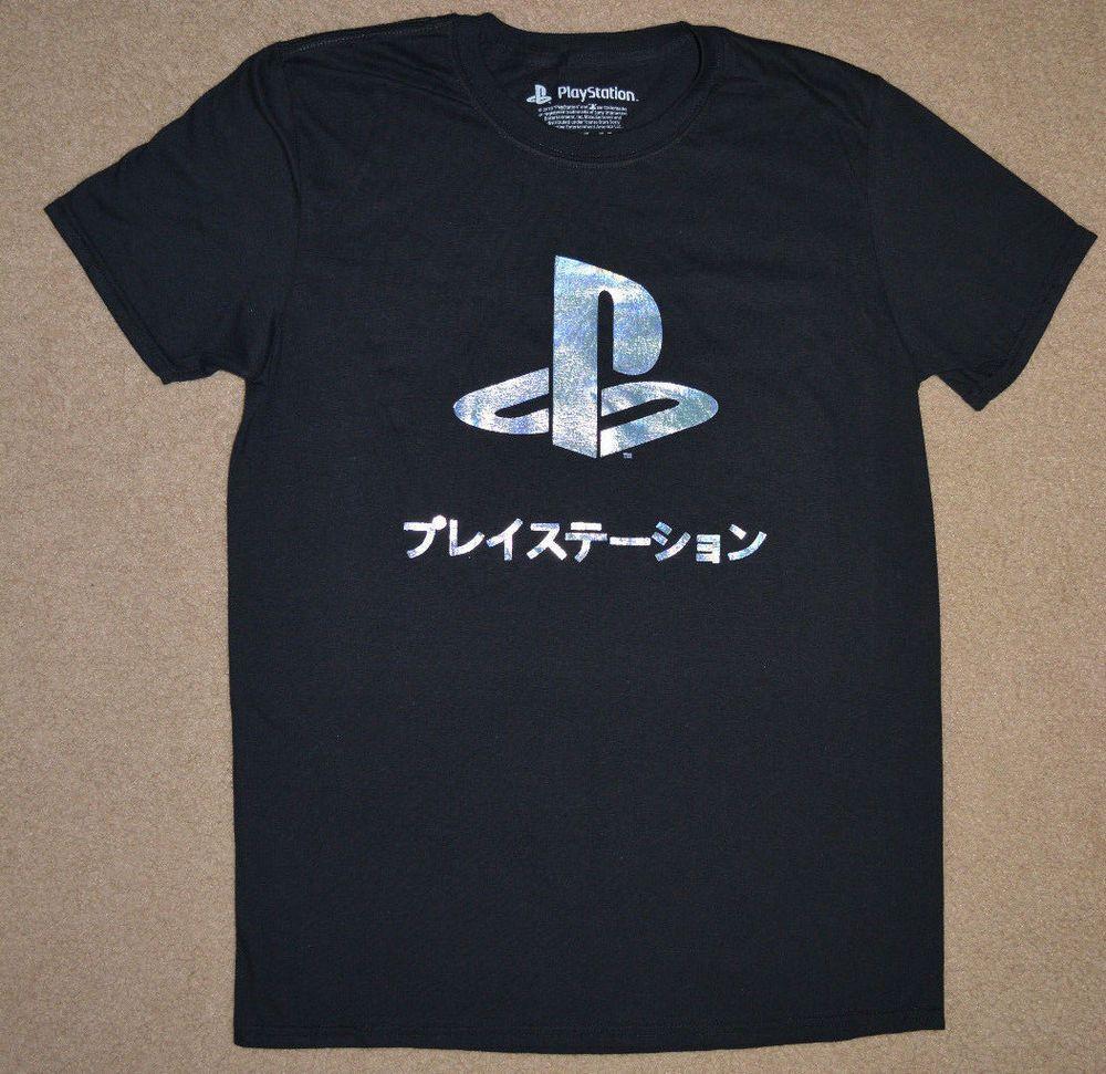 Playstation Holographic Foil Logo Gamer TShirt Black