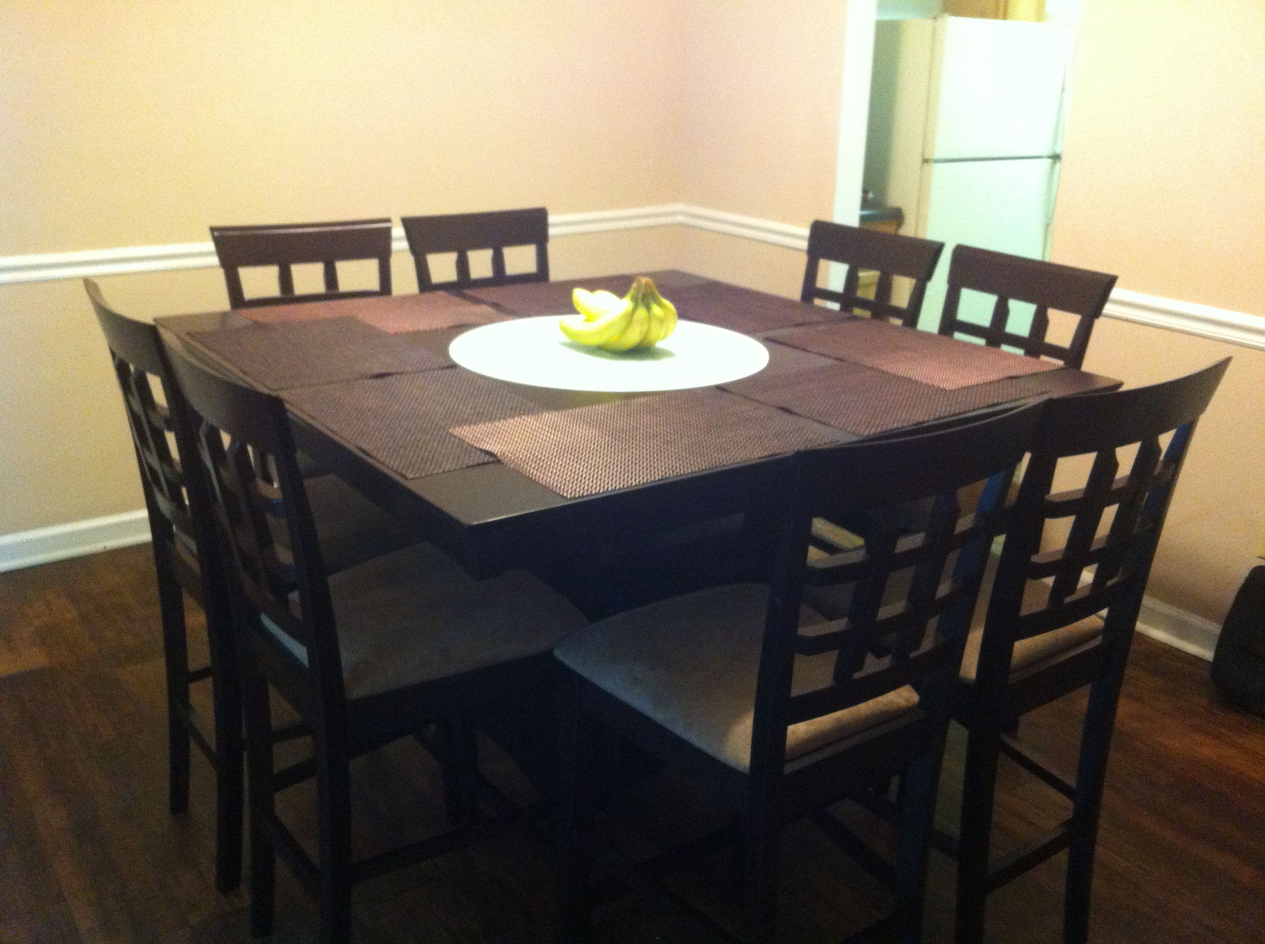 new dining table with lazy susan in the middle