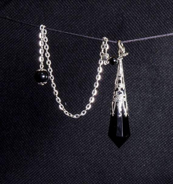 AAAAA Black Obsidian Crystal Pendulum