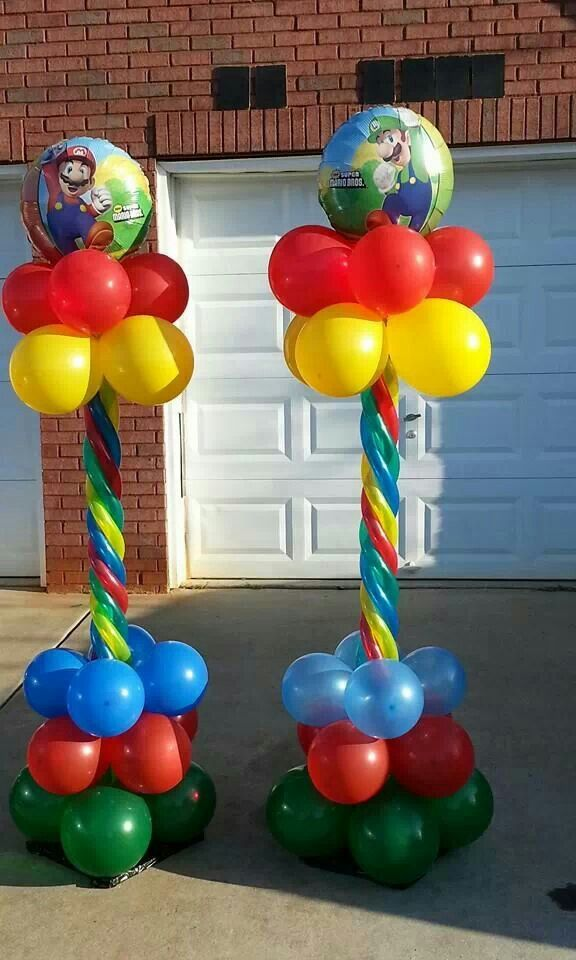 Super Mario party Luigi balloon Super Mario theme party 5 pieces Super Mario Balloon Bouquet