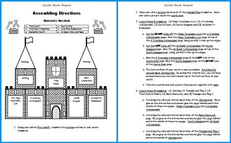 Extra Large Castle Book Report Project templates, worksheets