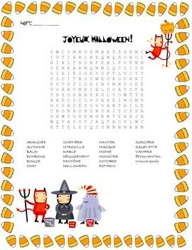 french halloween vocabulary word search halloween halloween vocabulary halloween word. Black Bedroom Furniture Sets. Home Design Ideas