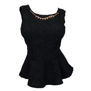 eVogues Apparel Plus size Sleeveless Peplum Top with Necklace Detail Black at Sears.com