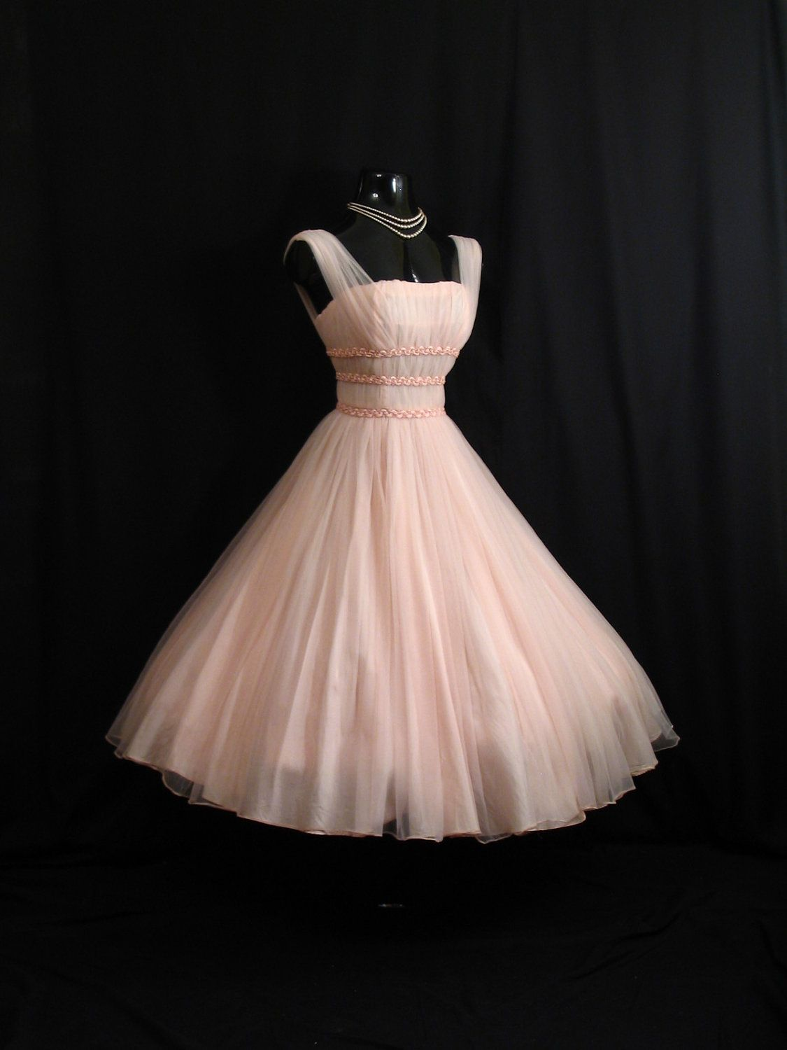 Vintage 1950\'s 50s Bombshell PINK Ruched Braided Chiffon Organza ...
