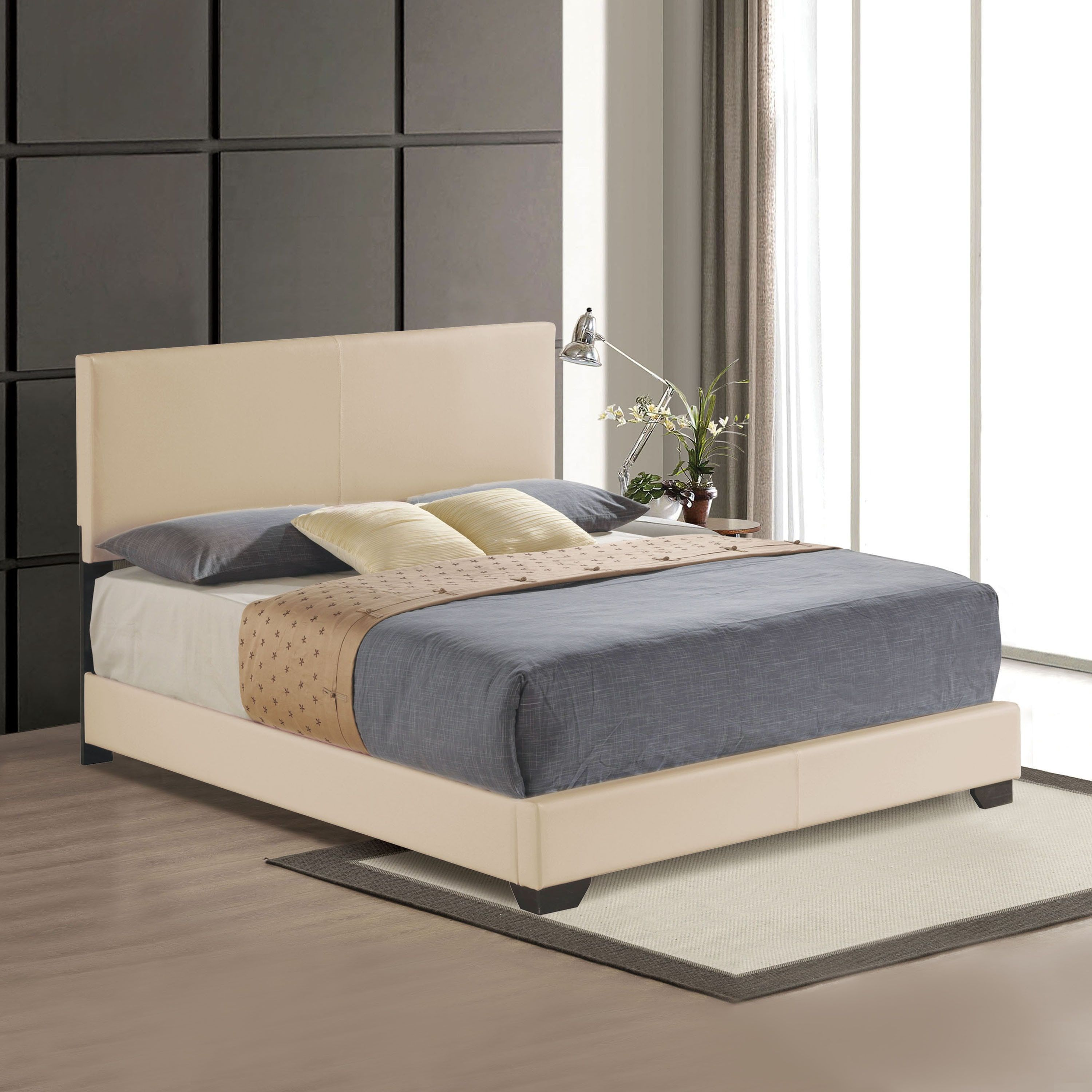 Acme Furniture Ireland Beige Wood Panel Bed (Full/Double