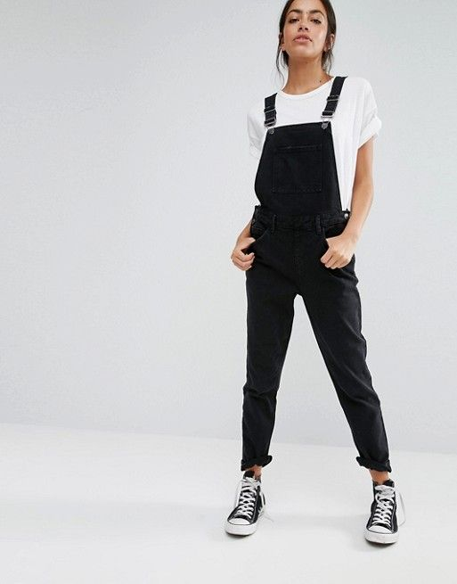 95f9229842a7 New Look Relaxed Overall Black Denim Dungarees