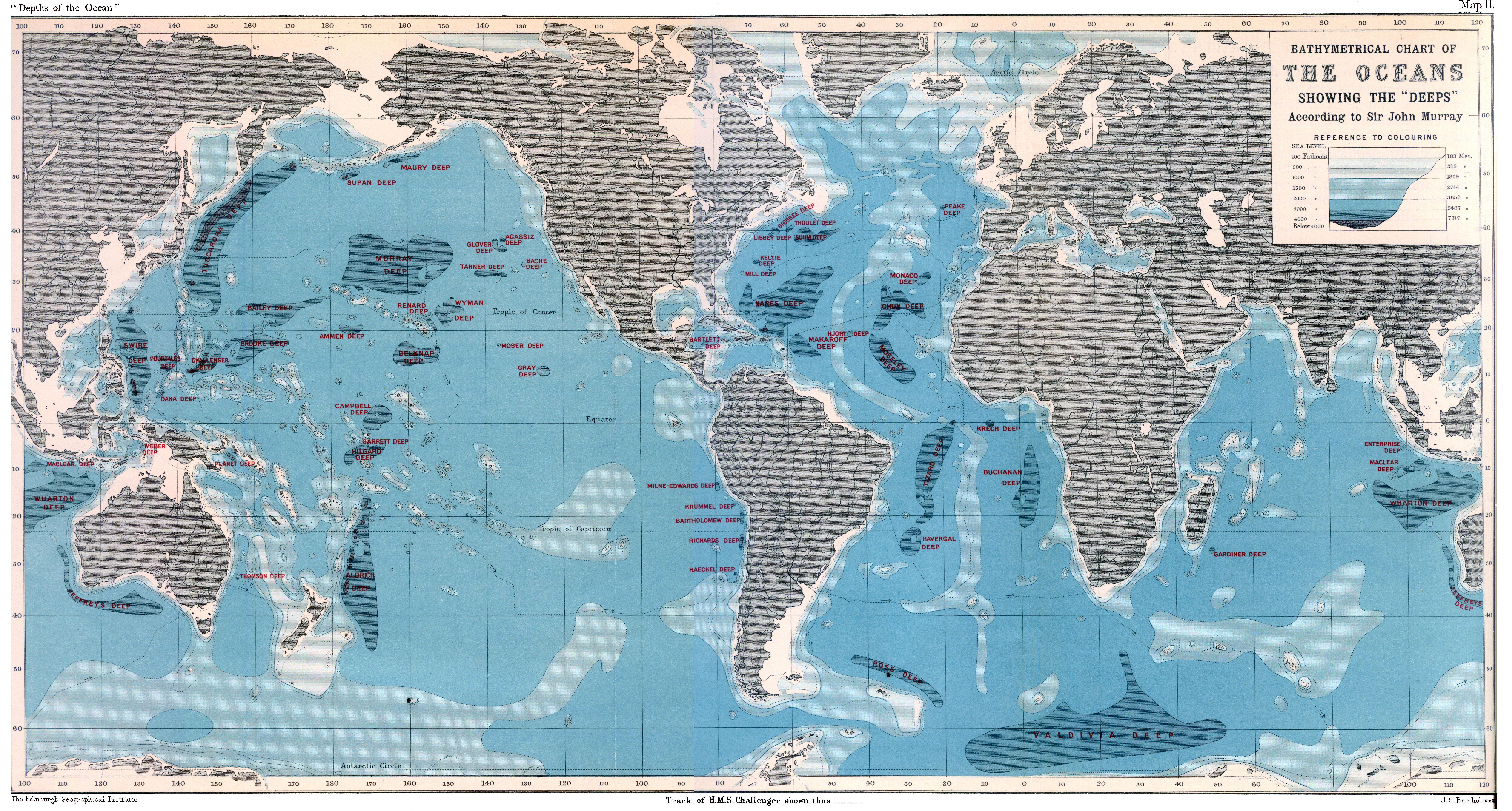 The depths of the ocean maps pinterest history world ocean depths map wallpaper mural gumiabroncs Gallery