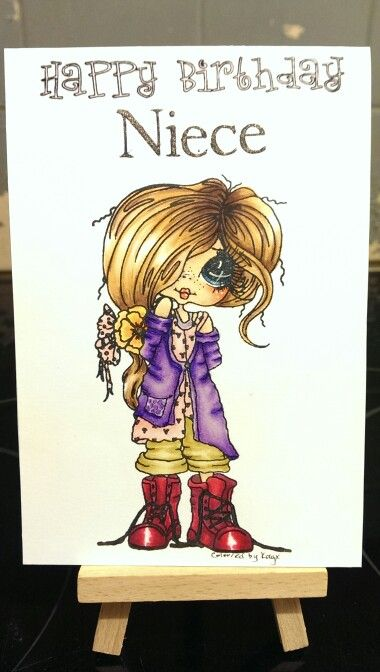 Niece Besties card, 'Start every day with a smile' using spectrum noir pens and pencils