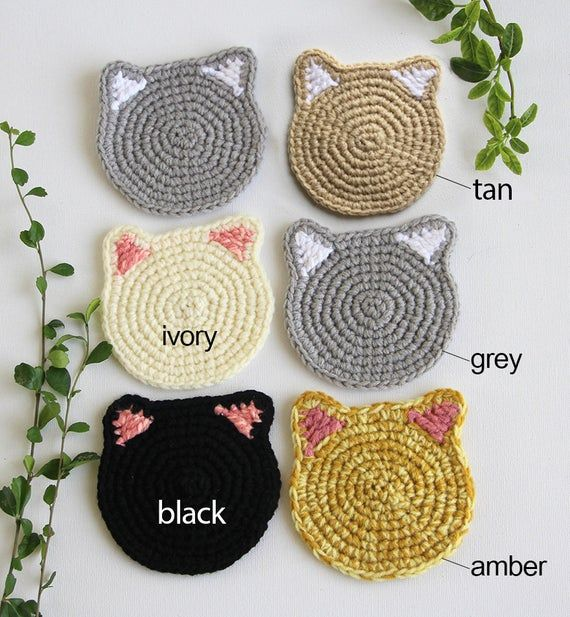 Cat Face Coaster set, Crochet Cat Head Coaster, Cat lover gift, Mother's day Gift, Housewarming gift, Crazy Cat Lady, Under 10 usd, Birthday