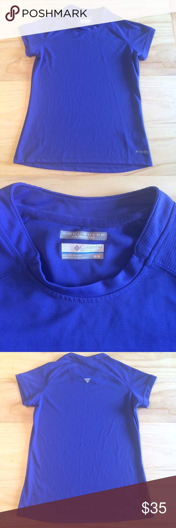 NWOT Columbia Shirt Dri-fit type material. Nice and cool. Bought at Columbia. Removed tags and never wore. Beautiful royal blue, purply color. Great for fishing, boat, etc. A semi-fitted style Columbia Tops