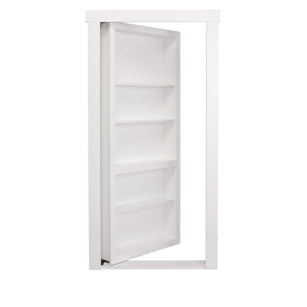 Superbe The Murphy Door 32 In. X 80 In. Assembled White Painted Flush Mount  Bookcase Wood Single Prehung Interior Door