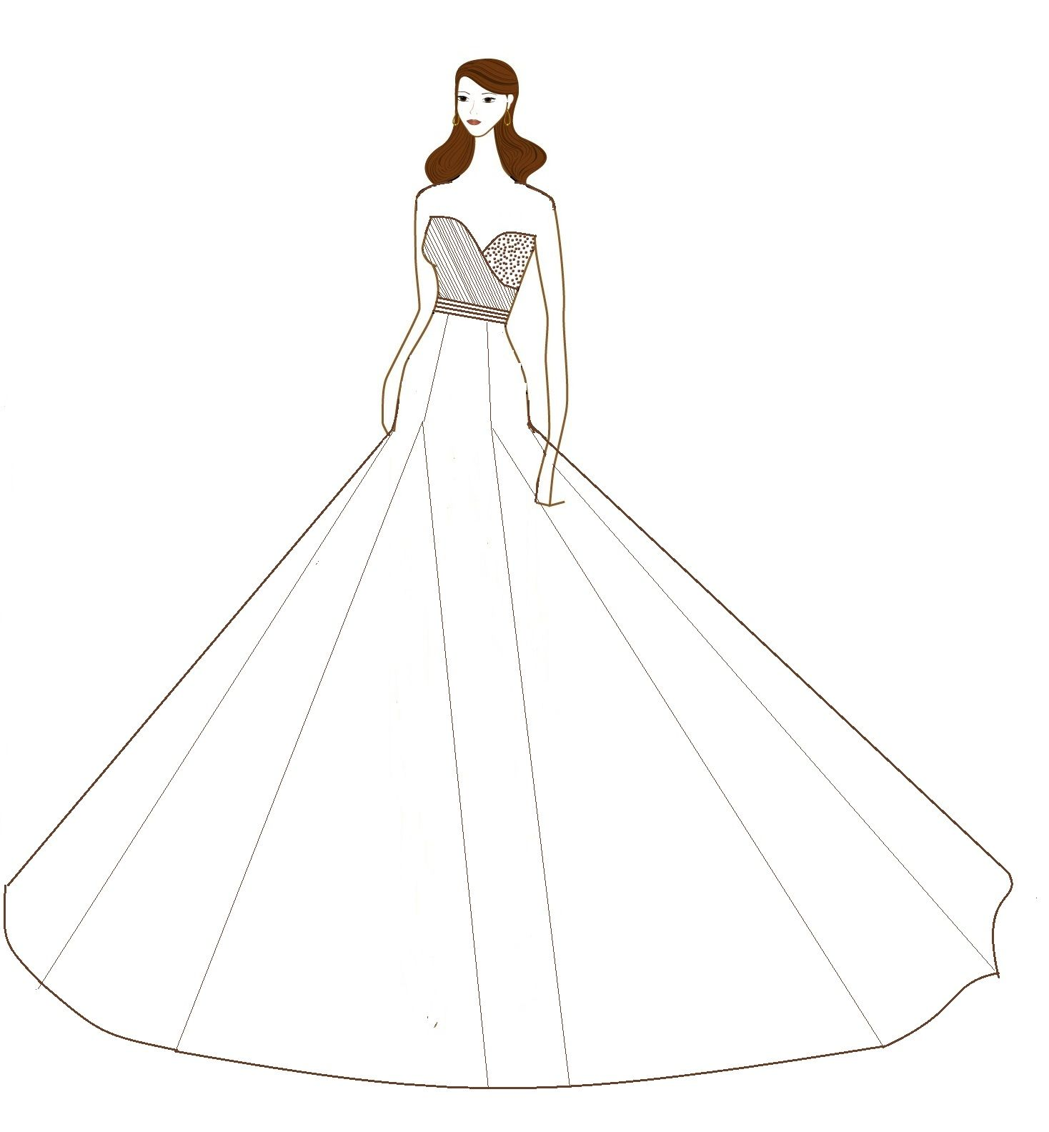 Strapless ChiffonRuched Overlapping Bodice And Flared Skirt Wedding Dress Sketch