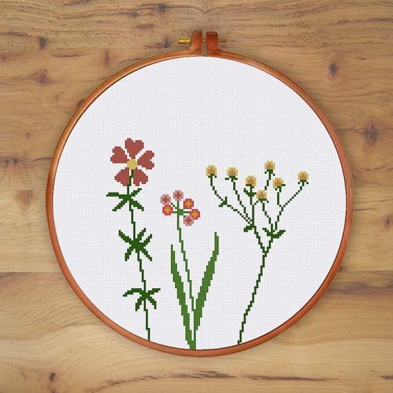 Wildflowers cross stitch pattern natural cross by ThuHaDesign