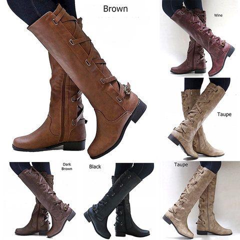 7bd1eced464c Size  US5 - US10.5 Women Chunky Heel Zipper Winter Boots