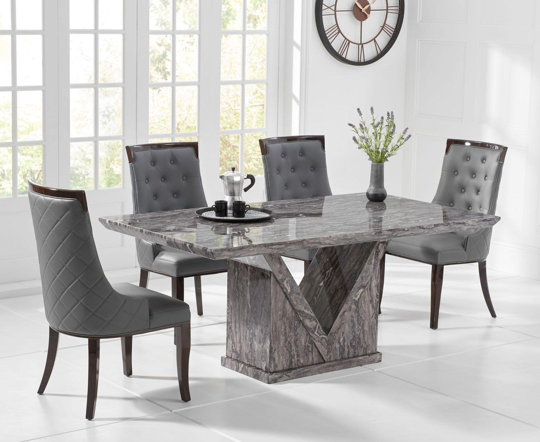 Mark Harris Minsk Grey Marble Dining Table 160cm Aviva Set In