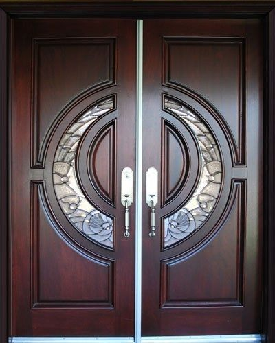 Solid Mahogany Exterior Front Double Door Prehung Finished Entry
