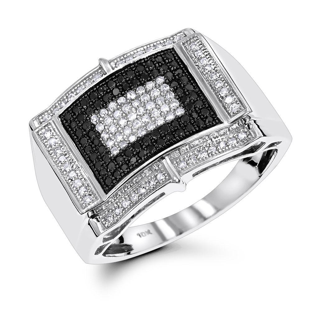 Mens White Black Diamond Ring 0.65ct 10K Erkek modeller