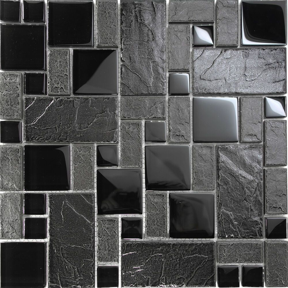 Details About Black Stone Glass Blend Pattern Mosaic Tile Kitchen
