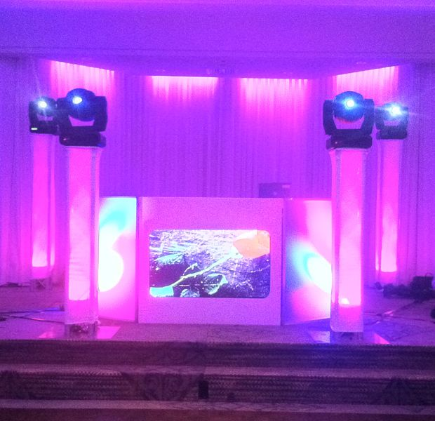 Intelligent Moving Lights Mounted On Truss Columns W White Scrims And Led Up Lighting Dj Equipment For Sale Wedding Dj Setup Dj Stage