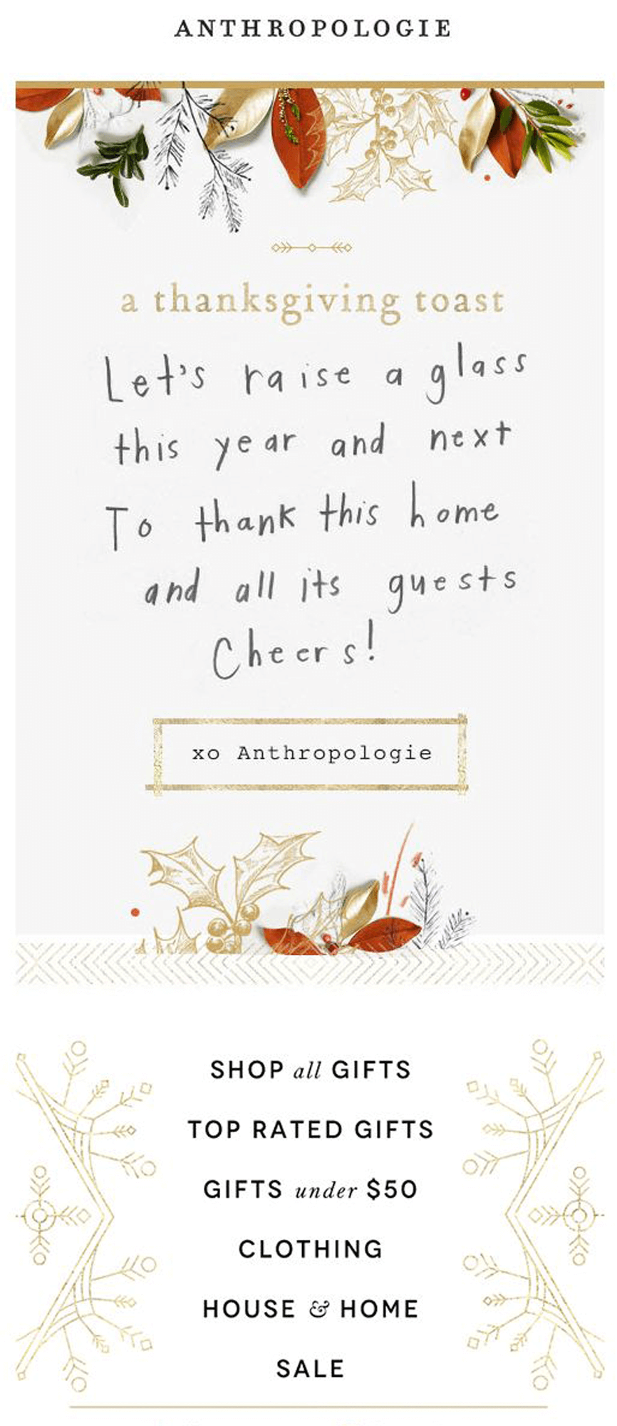 Anthropologie Thanksgiving Email In 2020 Email Design Inspiration Holiday Email Campaigns Beautiful Email Templates
