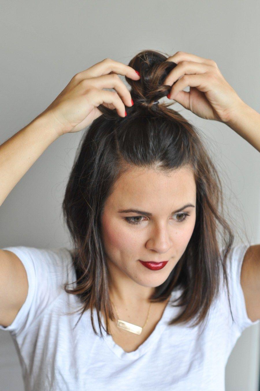 How To Do The Half Top Knot On Short Hair My Style Vita Short Hair Top Knot Messy Bun For Short Hair Short Hair Bun