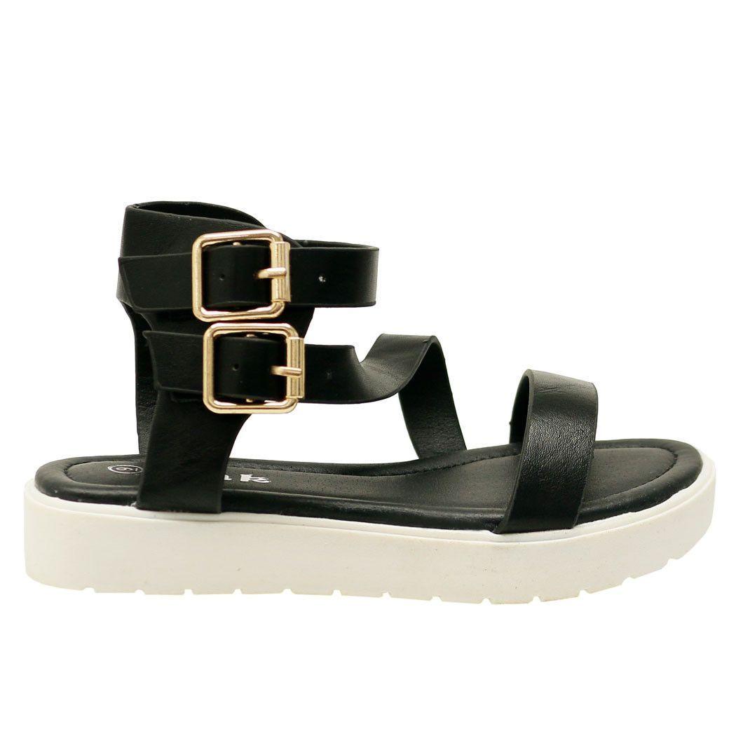 Aimee-95K Kid's Black Open Toe Leatherette Lug Sole Ankle Strap Sandals