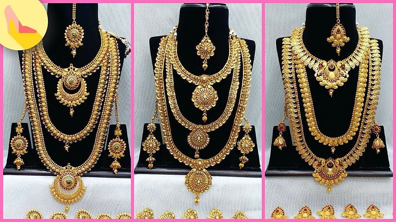 1 Gram Gold Bridal Long Haram Sets With Price Bridal Full Sets Haram Gold Statement Necklace