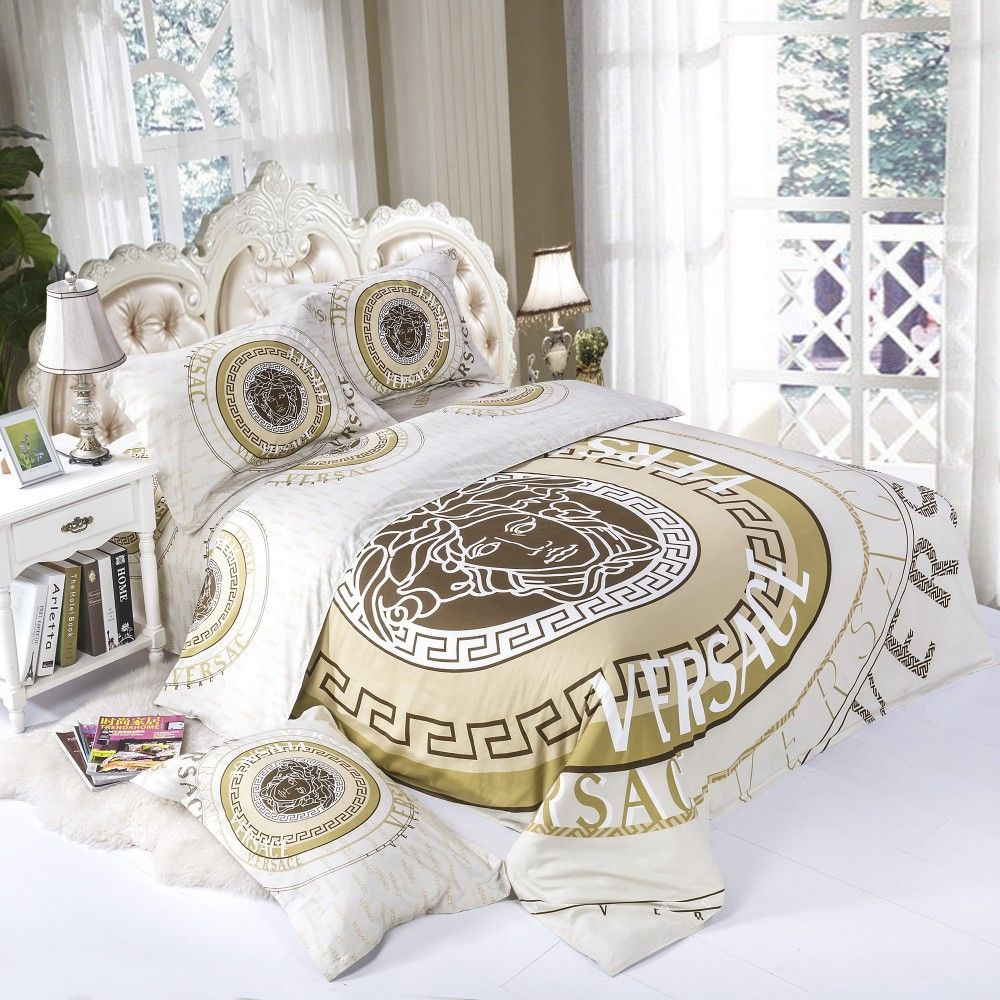 Loveeee all white gold versace bedding set modern - White and gold bedroom furniture set ...