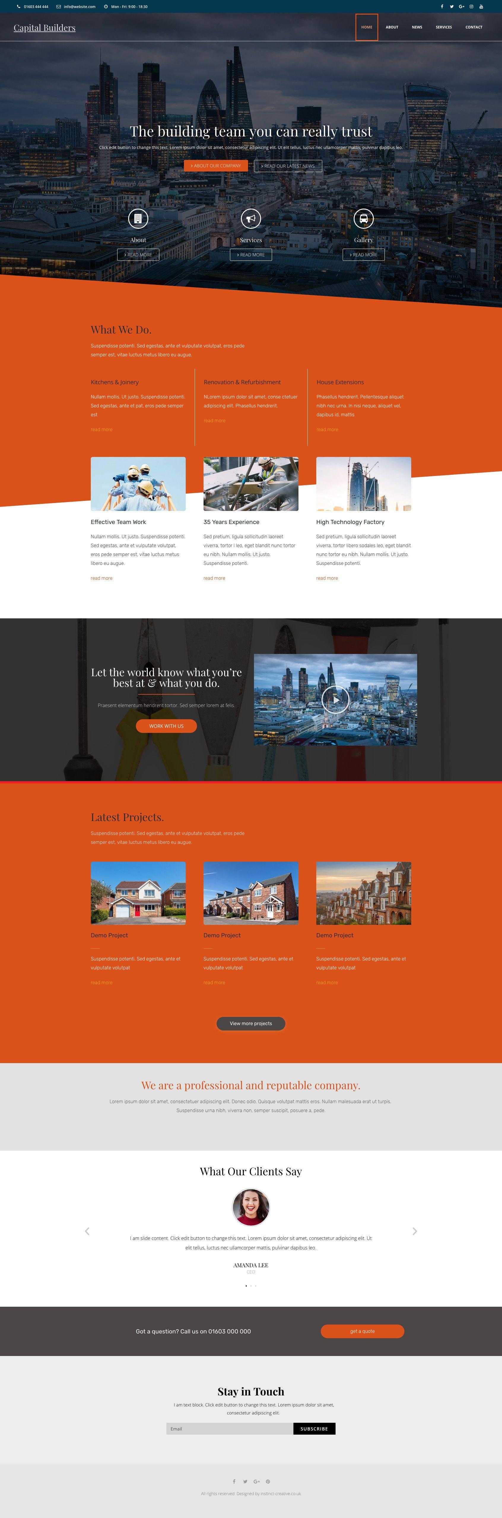 Web And App Design For A Building Company Made In Wordpress Bespoke Design Web App Design Best Web Design Web Design