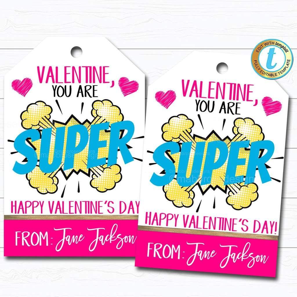 Superhero Valentines Tag Girl Valentine Card T