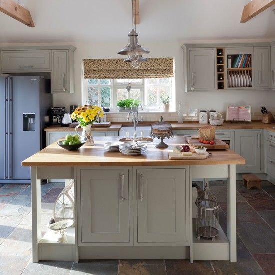 25 White And Wood Kitchen Ideas: Slate Green And Wood Kitchen