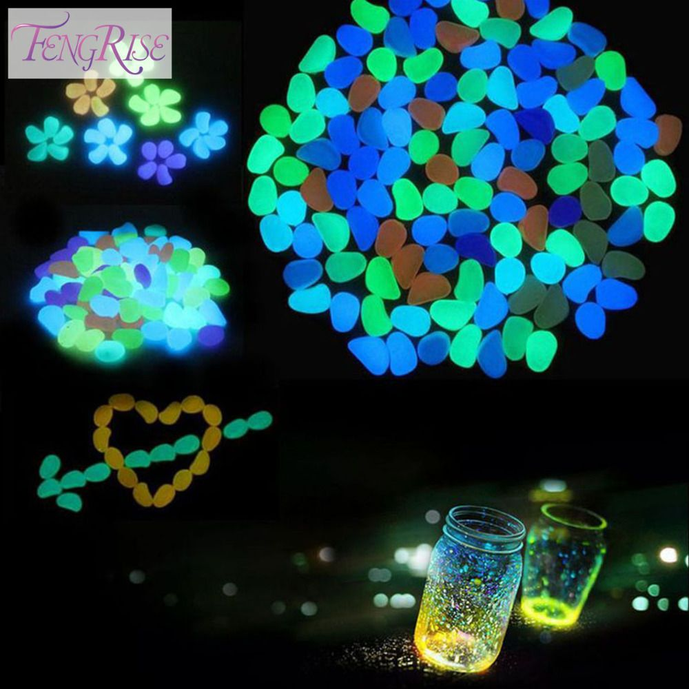 Decorative garden ornaments - Fengrise Garden Decorations Crafts 10pcs Glow In The Dark Luminous Pebbles Stones Acrylic For Wedding Romantic