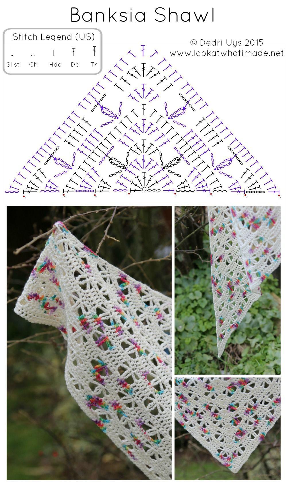Banksia Shawl Free Crochet Pattern | frío | Pinterest | Tücher ...
