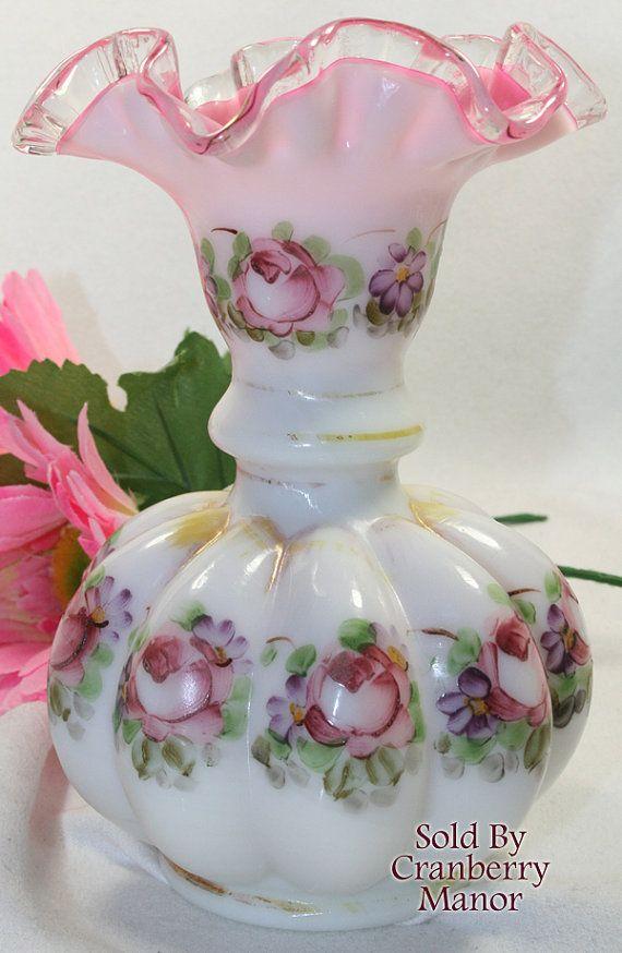 Vintage Fenton Charleton Rose Decorated Peach Crest Art Glass Vase