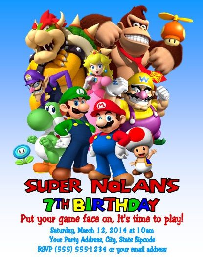 Super Mario Luigi Gaming Birthday Party Invitations Personalized
