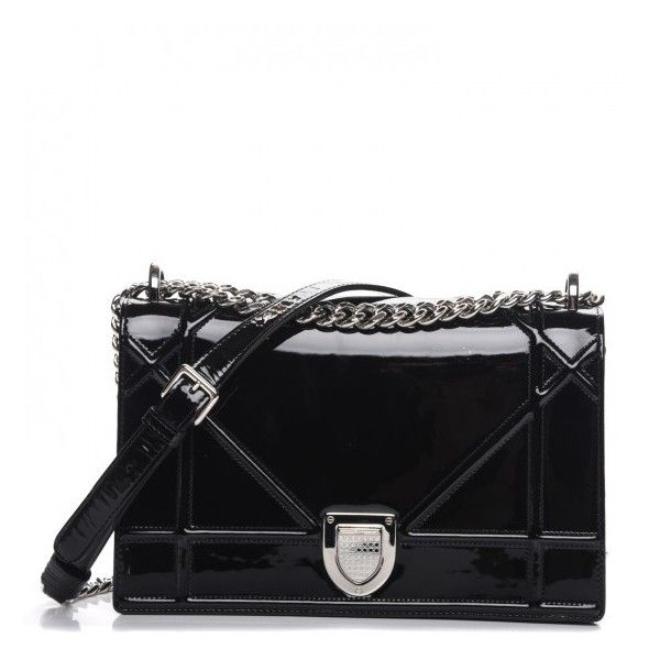 Dior Patent Medium Diorama Flap Black Liked On Polyvore Featuring Bags Handbags Shoulder Crossbody Bag
