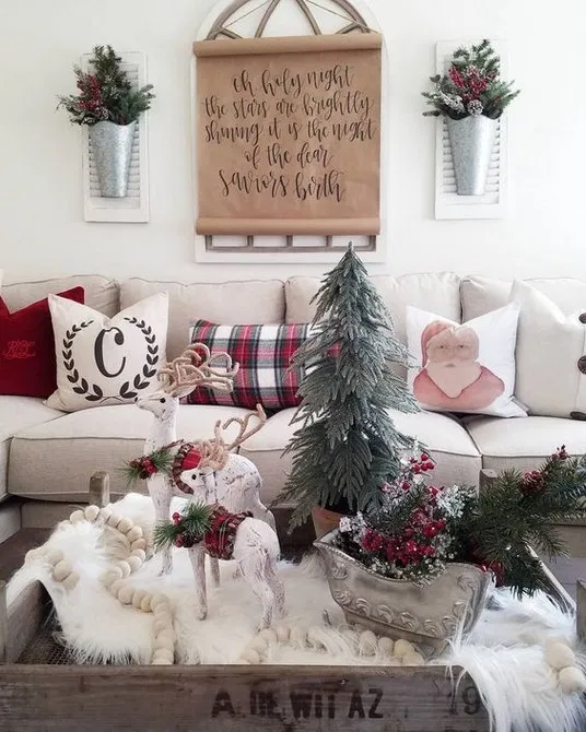 31 wonderful farmhouse living room decor design ideas for christmas 21 > yunus.m…
