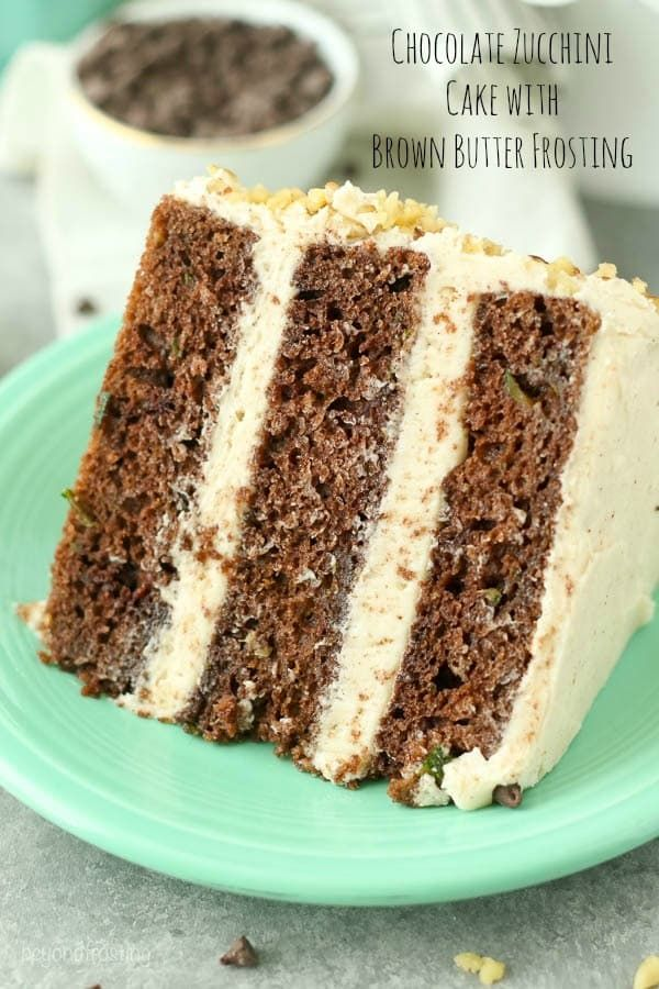 This Triple Layer Chocolate Zucchini Cake Features A Delicate Chocolate Cake Stuff Wit Chocolate Zucchini Cake Cakes Made With Buttermilk Brown Butter Frosting