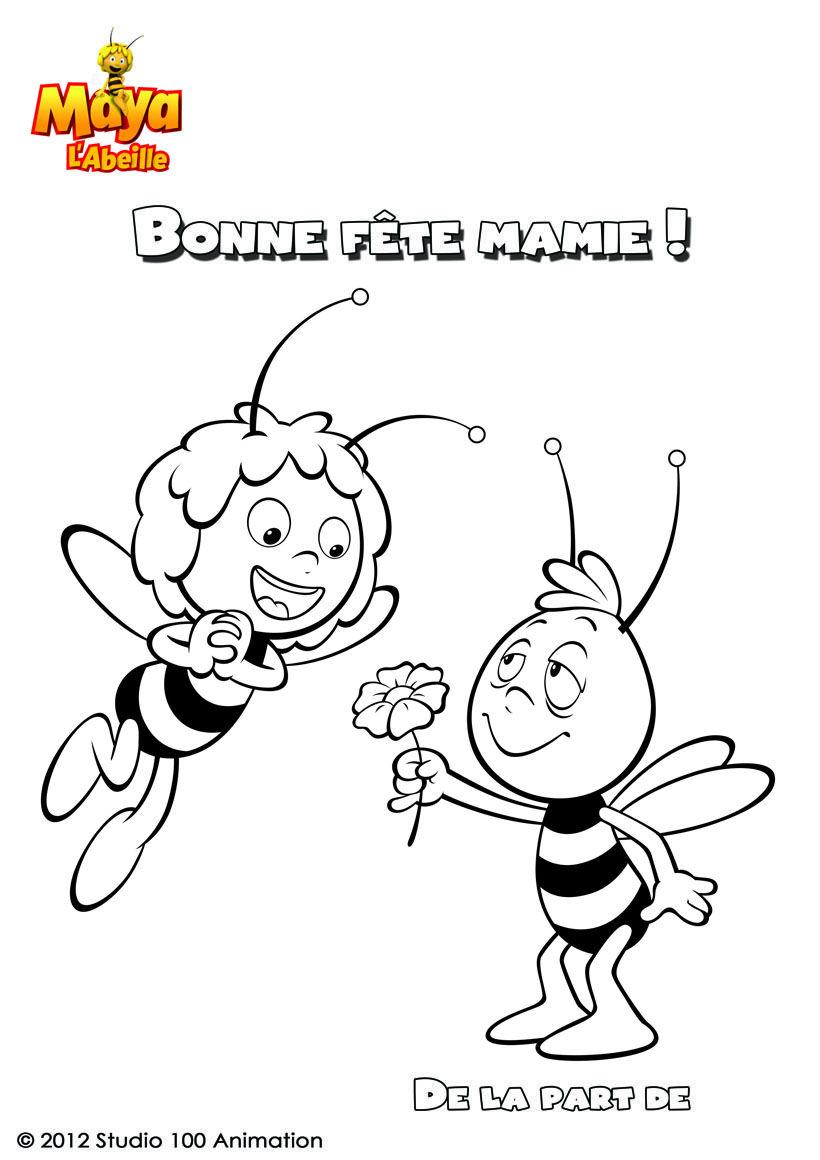 Coloriage bonne f te mamie maya l 39 abeille abeilles - Dessin de mamie ...