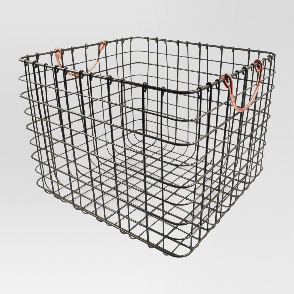 Large Wire Milk Crate With Handles Copper Threshold In 2020 Milk Crates Decorative Storage Bins Copper Handles