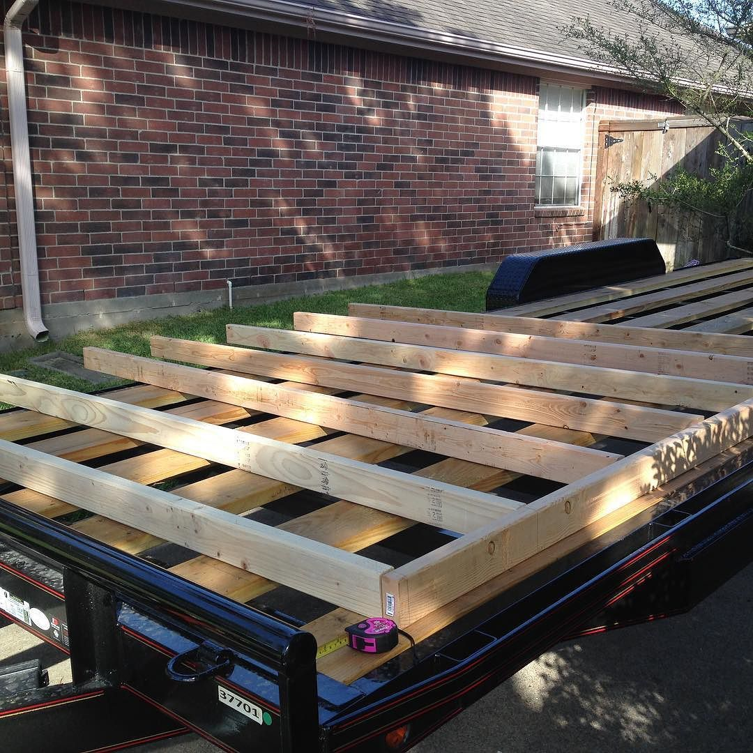 First of three 8' subfloor frames . My tiny house vision is taking shape.#lessstuffmorelife #destinationtiny #tinyhousetrailer #tinyhouse by destinationtinyhouse
