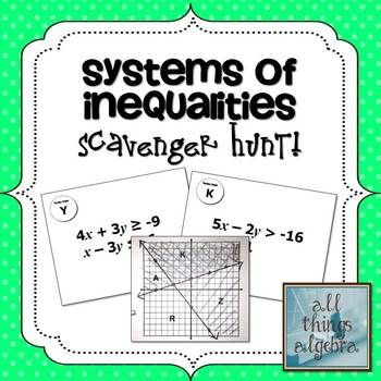 Systems Of Linear Inequalities Scavenger Hunt Activity Linear Inequalities Algebra Lessons Algebra Activities