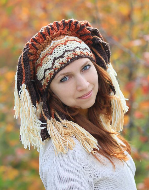 festival headdress in brown orange yellow color with feather leaves winter beanie Autumn shaman crochet hat