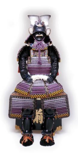 紫裾濃威黒大札一之谷兜腹巻