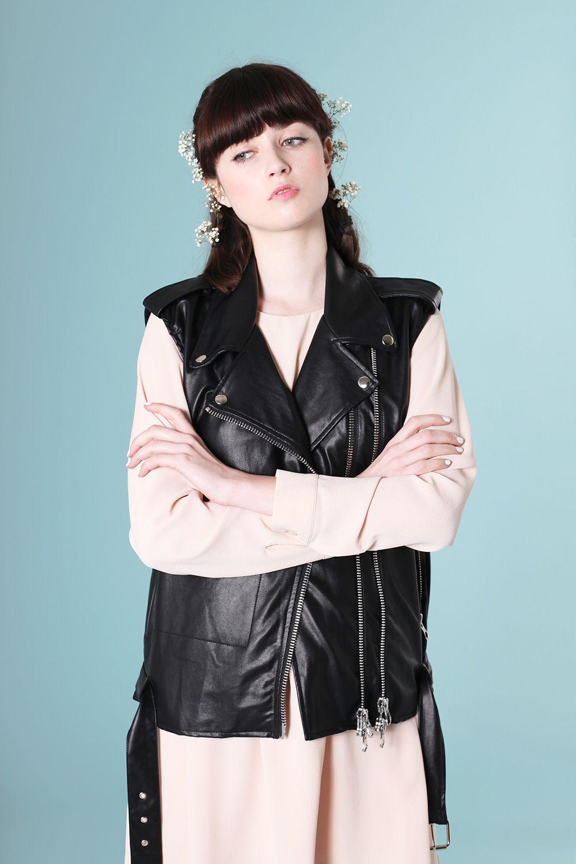 Green dress on pale skin  PU Leather Biker Vest Black ewhitepepperproducts